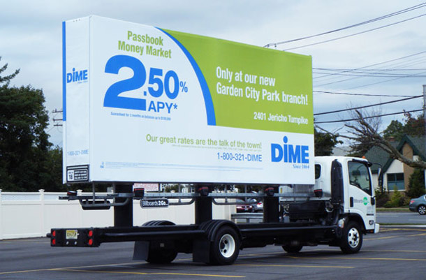 Billboards2Go.com mobile billboard image - Client DIME Bank