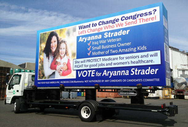 Billboards2Go.com mobile billboard image - Client Political