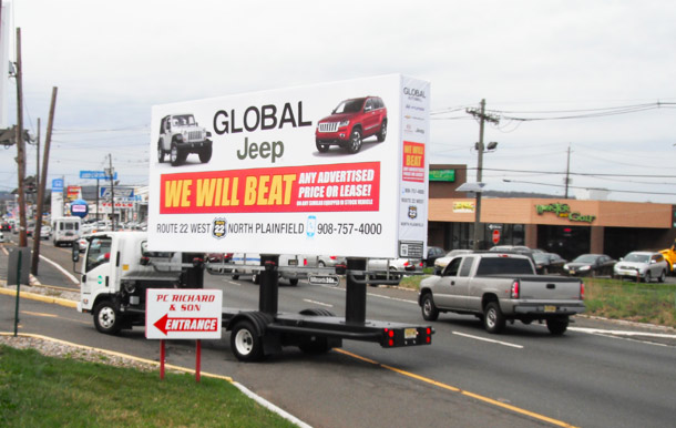 Billboards2Go.com mobile billboard image - Client Global Jeep