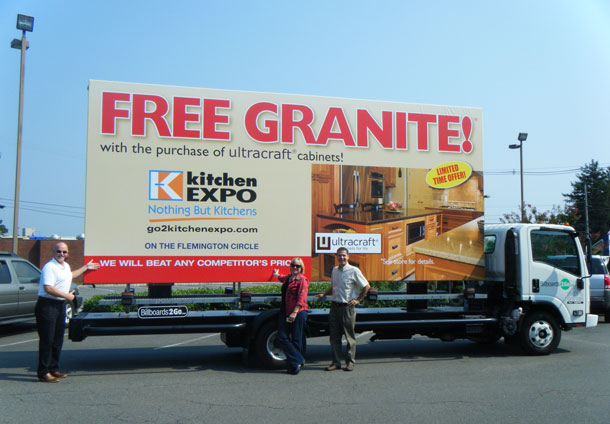 Billboards2Go.com mobile billboard image - Client KITCHENEXPO