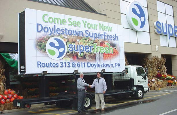 Billboards2Go.com mobile billboard image - Client SuperFresh