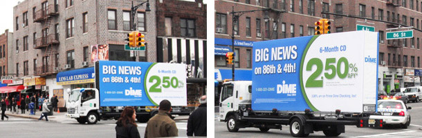 Billboards2Go.com mobile billboard image - Client DIME Bank Brooklyn
