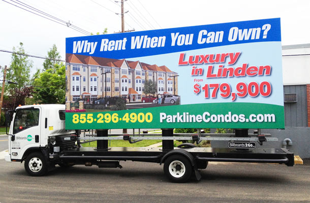 Billboards2Go.com mobile billboard image - Client PARKLINE Linden