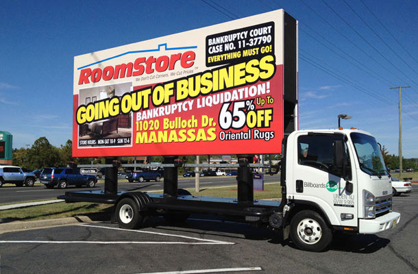 Billboards2Go.com mobile billboard image - Client PROOMSTORE MANASSAS