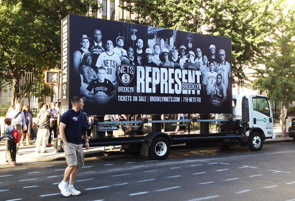 Billboards2Go Mobile Billboard Image Brooklyn NETS